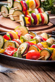 Grilled vegetable skewers. Stock Photo