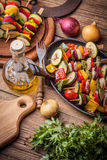 Grilled vegetable skewers. Royalty Free Stock Images