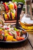 Grilled vegetable skewers. Royalty Free Stock Images