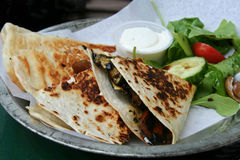 Grilled Vegetable Wrap. With sour cream and salad Stock Image