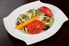 Grilled vegetables. On a white plate Royalty Free Stock Images