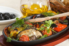 Grilled vegetables. Grilled eggplants with pepper,tomato and greens royalty free stock images