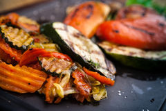 Grilled vegetables, baked in coal oven Stock Photo