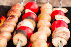 Grilled vegetables, baked vegetables, vegetables on skewers Royalty Free Stock Images