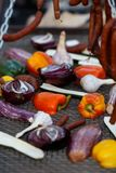 Grilled vegetables and hunting sausages cooking on street. With copy space Royalty Free Stock Images