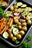 Grilled vegetables on baking tray Stock Image