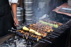 Grilled vegetables barbecue skewers healthy picnic food Stock Image