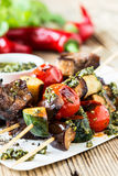 Grilled  vegetables and beef shishkabobs Stock Photo