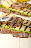 Grilled vegetables on bread Stock Images