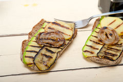 Grilled vegetables on bread Stock Image