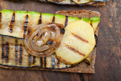 Grilled vegetables on bread Stock Photos