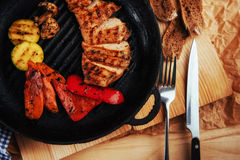 Grilled vegetables and chicken fillet. Traditional cuisine. Gril Royalty Free Stock Images