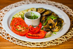 Grilled vegetables. Delicious grilled vegetables from a vegetarian diet Royalty Free Stock Photography