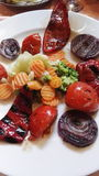 Grilled vegetables. In different colors royalty free stock image