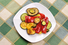 Grilled vegetables on dining table Royalty Free Stock Photo
