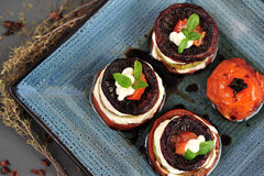 Grilled vegetables with goat cheese Stock Images