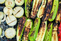 Grilled vegetables on a grill pan, top view barbecue Stock Photo