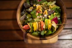 Grilled vegetables and healthy salad royalty free stock photos
