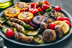Free Grilled Vegetables In Bowl On Dark Stone Background Royalty Free Stock Images - 216860229