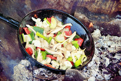 Grilled vegetables inside of a grill pan Royalty Free Stock Photo