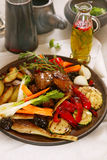 Grilled vegetables and meat. On ceramics plate stock photo