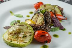 Grilled vegetables with meat royalty free stock photos