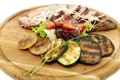 Grilled vegetables and meats Stock Photos
