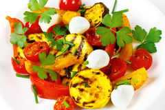 Grilled vegetables with mozzarella cheese Stock Images