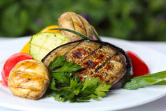 Grilled vegetables with mushrooms and greens Stock Photography
