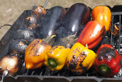 Grilled vegetables. On old grill Stock Photos