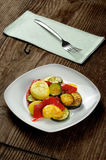 Grilled vegetables on a old wooden table Stock Photography