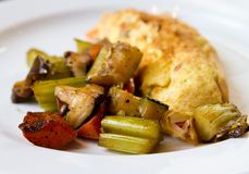 Grilled vegetables with omelete. Breakfast with grilled vegetables and omelete royalty free stock photos
