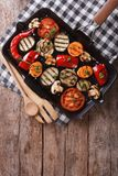 Grilled vegetables in a pan grill. vertical top view Royalty Free Stock Photography