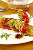 Grilled vegetables and potato fritters Royalty Free Stock Photos