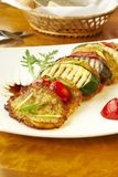 Grilled vegetables and potato fritters Royalty Free Stock Photography