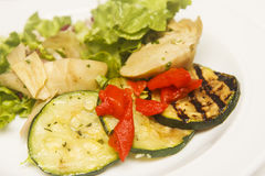 Grilled Vegetables and Salad Stock Images