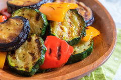 Grilled vegetables salad with zucchini, eggplant, onions, peppers and herbs Royalty Free Stock Images