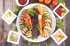 Grilled vegetables and sauce Royalty Free Stock Photos
