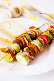 Grilled vegetables on skewer royalty free stock photography