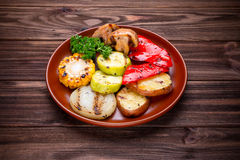 Grilled vegetables with spices and seasoning Royalty Free Stock Images