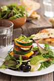 Grilled vegetables stacked on plate Royalty Free Stock Images