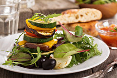 Grilled vegetables stacked on plate Royalty Free Stock Image