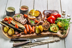 Grilled vegetables and steak with salt Royalty Free Stock Image
