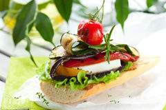 Grilled vegetables on toast Stock Photography