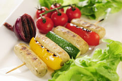 Grilled vegetables and Tofu sausage Royalty Free Stock Photography