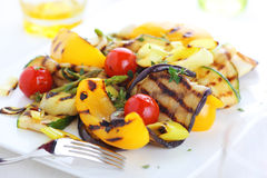 Grilled vegetables on white plate Royalty Free Stock Image