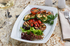 Grilled vegetables on white plate Royalty Free Stock Photos