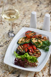 Grilled vegetables on white plate Stock Photo