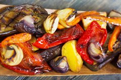Grilled vegetables in wooden bowl. Royalty Free Stock Photos
