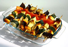 Grilled vegetables on wooden skewers Stock Photography